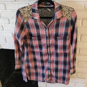 Free people sequin plaid flannel tunic